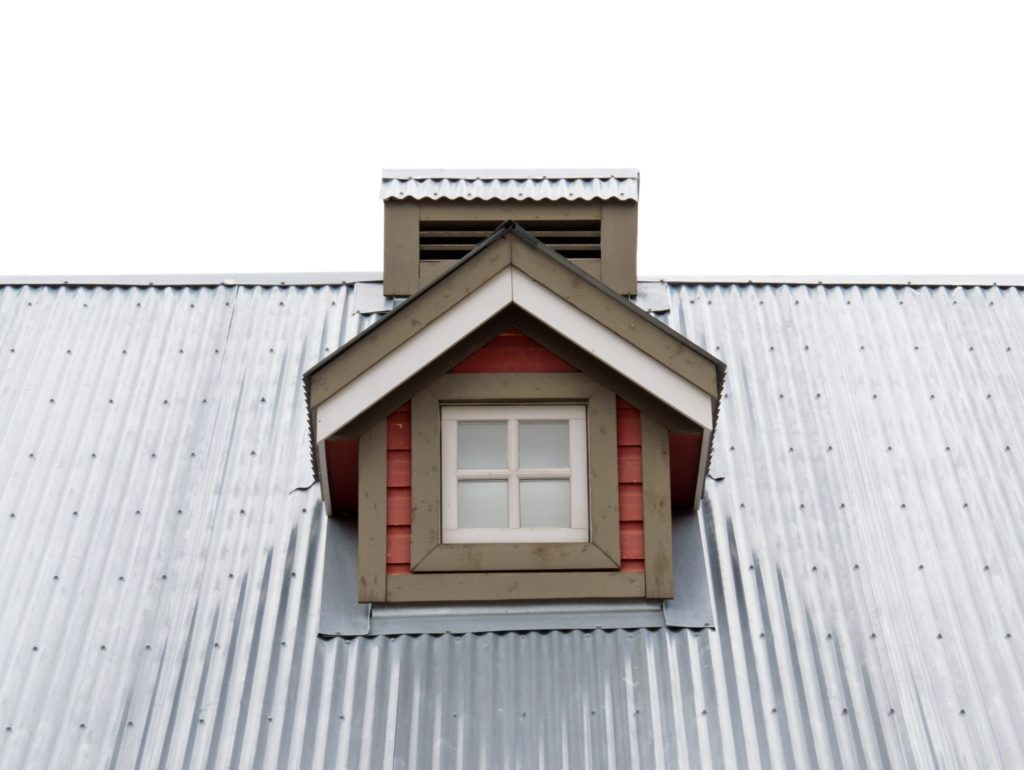A dormer on a metal roof.